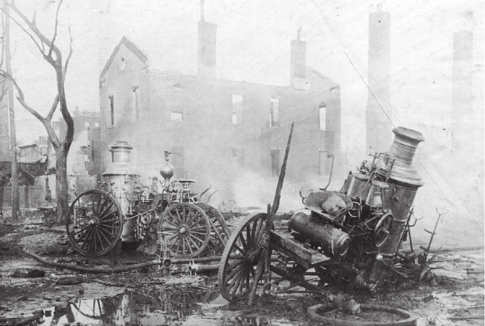 Fire engines after the South End Grounds Fire