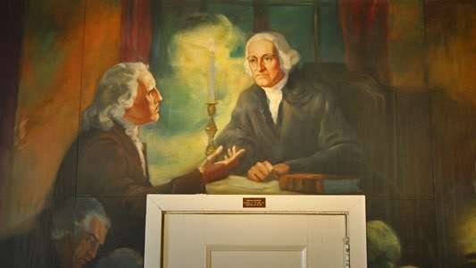Dark Day mural, painted by WPA artist Delos Palmer in Stamford, Conn., Old Town Hall.