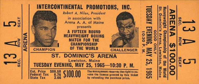 Ticket for Muhammad Ali in Lewiston against Sonny Liston