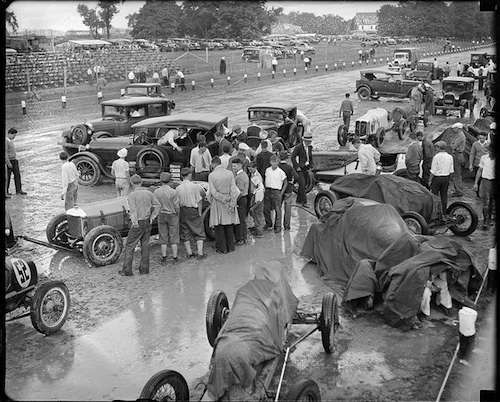 Gas burners at the Readville Race Track. Photo courtesy Boston Public Library, Leslie Jones Collection.