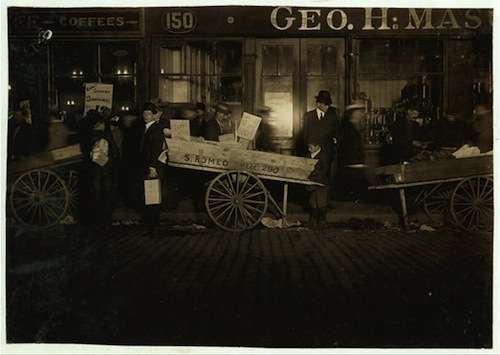 Selling vegetables (not fruits) in the market. Courtesy Library of Congress.