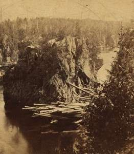 Logjam on a Maine river in 1870.