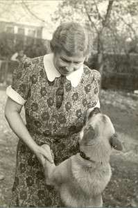 Helen Keller in Easton, Conn., with her dog Kamikaze