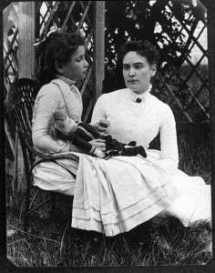 Helen Keller with Annie Sullivan on vacation on Cape Cod, 1888
