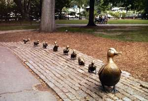 The Make Way for Ducklings statues