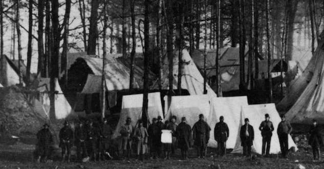 Vermont soldiers camped among pine trees in Virginia