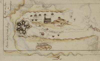Map of Fort Beausejour and cathedral