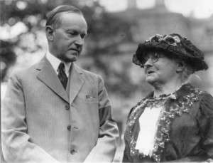 Calvin Coolidge meeting with labor activist Mother Jones