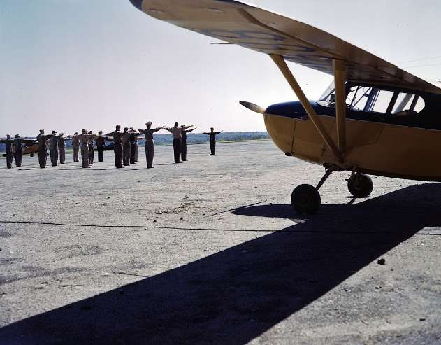 Flying Minutemen exercising at Civilian Air Patrol Base # 20 in Trenton, Maine.