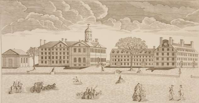 Colonial engraving, Harvard College