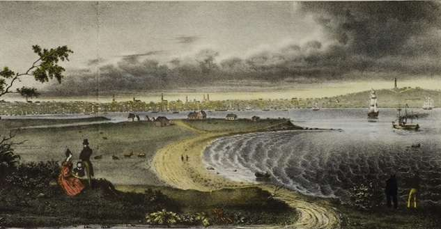 S.E. View of Portland in 1832, Taken from Fort Preble, on Purpooduck Point