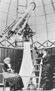 Maria Mitchell and student in the observatory at Vassar