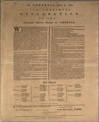 Declaration of Independence printed by Mary Katherine Goddard