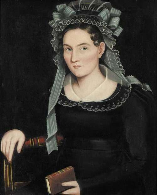 Ammi Phillips, 'Portrait of a Lady in an Elaborate Lace Bonnet'