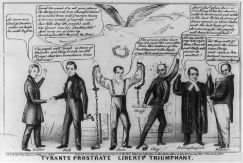 Cartoon supporting the Dorr Rebellion. Library of Congress.