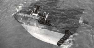 The stern of the Pendleton. Note the ladder just beneath the smokestack.