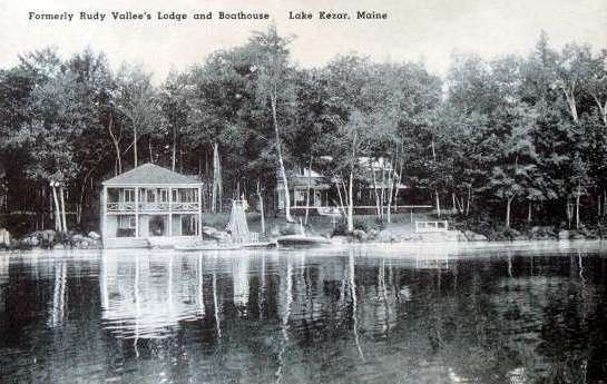 Postcard showing Rudy Vallee's Kezar Lake House.