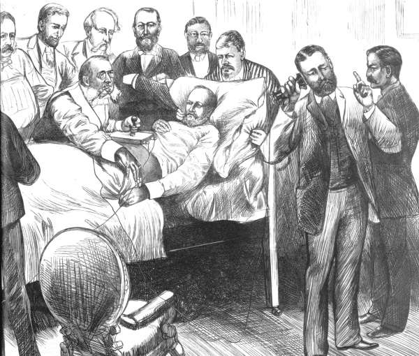 A magazine illustration depicting Alexander Graham Bell's efforts to save the president.
