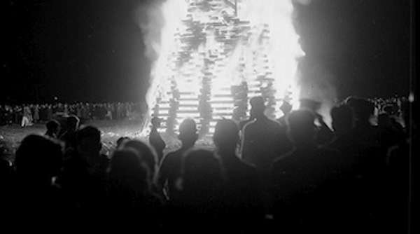 A July 3 bonfire in New England. Photo courtesy Boston Public Library, Leslie Jones Collection.