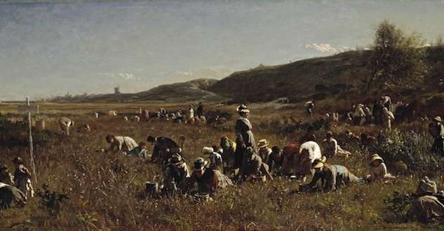 Detail from The Cranberry Harvest, Island of Nantucket (1880) by Eastman Johnson.