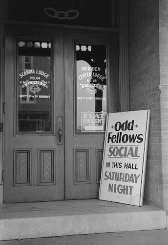'Entrance to Odd Fellows Hall, Meriden, Conn.' Photo courtesy Library of Congress.