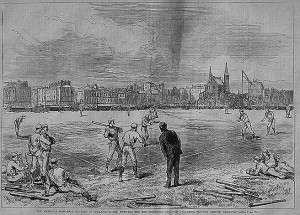 Boston Red Stockings play baseball in England against the Athletic Club of Philadelphia. Woodcut from Harper's Weekly.