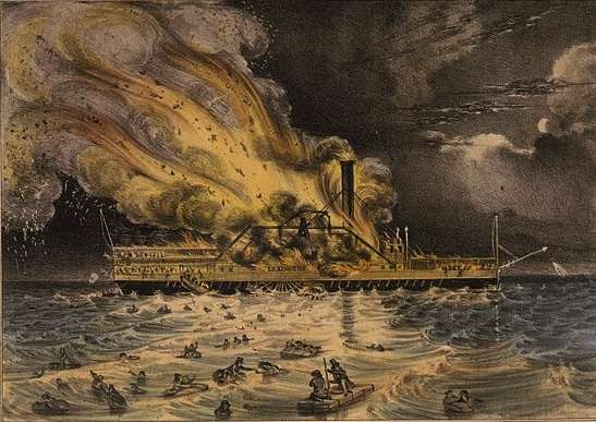 Steamboat Lexington tragedy by Nathaniel Currier
