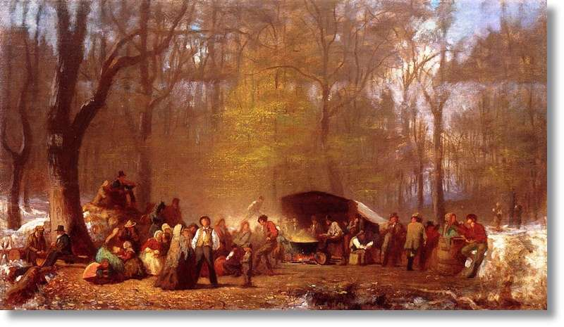 Sugaring Off at the Camp, Fryeburg, Maine by Eastman Johnson