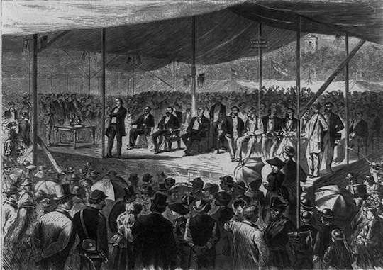 Henry Ward Beecher speaking at Woodstock, Conn, President Grant seated. From a Harper's Weekly engraving courtesy Library of Congress.