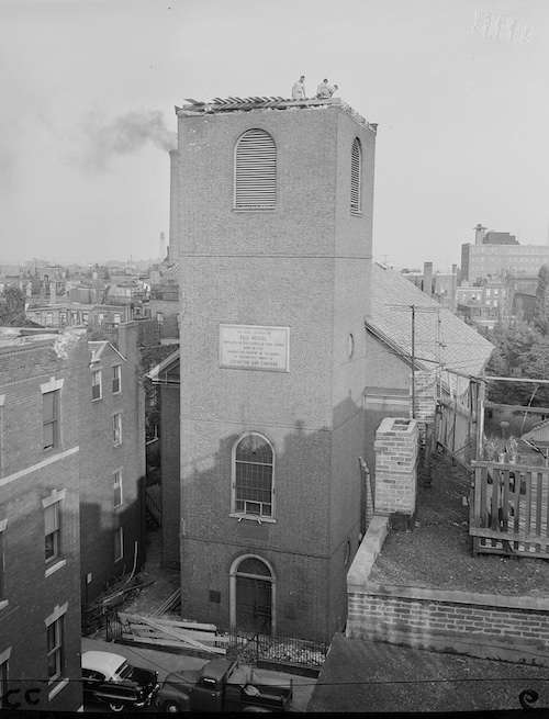 Old North Church after Hurricane Carol got done with its steeple