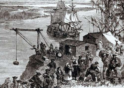 The James unloading after a somewhat more serene trip than it had during the Great Colonial Hurricane of 1635.
