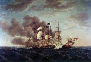 The battle between the USS Constitution vs HMS Guerriere, by Michel Felice Corne