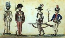 American foot soldiers in the Yorktown campaign; the soldier on the far left is a member of the 1st Rhode Island Regiment.