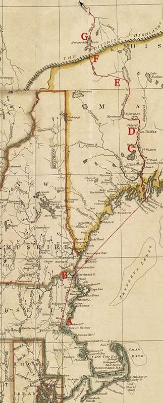 Detail of 1795 map overlaid with Arnold's expedition route. A Cambridge; B Newburyport; C Fort Western; D Fort Halifax; E Great Carrying Place; F Height of Land; G Lake Megantic. Courtesy Boston Public Library.
