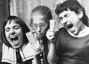 Girls with their Beatles tickets. (Boston Public Library)