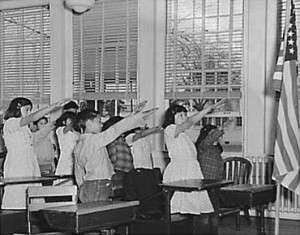 Students performing the Bellamy Salute