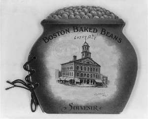 Cover of souvenir album of historic sites of Boston, shaped as beanpot, with illus. of Faneuil Hall. Courtesy Library of Congress.