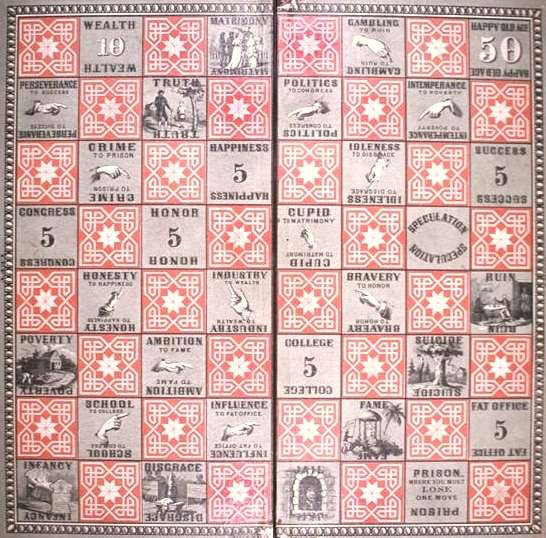 Game board from the Checkered Game of Life by Milton Bradley
