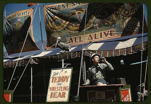 Barker at the Vermont State Fair. Photo courtesy Library of Congress.