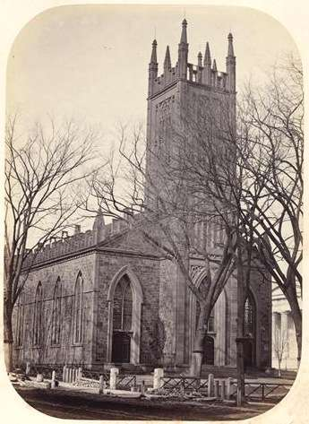 Ithiel Town Trinity_Church_on_the_Green,_New_Haven,_circa_1865_(photograph)