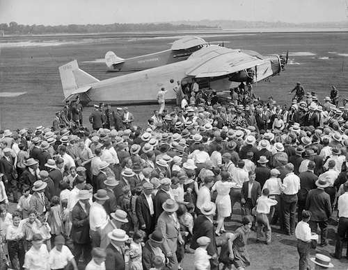 Amelia Earhart demonstrates flying, 1927. Photo courtesy Boston Public Library, Leslie Jones Collection.