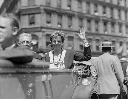 Amelia Earhart gets a heroine's welcome in Boston. Photo courtesy Boston Public Library, Leslie Jones Collection.
