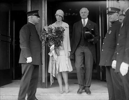 Amelia Earhart with Medford Mayor Edward Larkin. Photo courtesy Boston Public Lilbrary, Leslie Jones Collection.