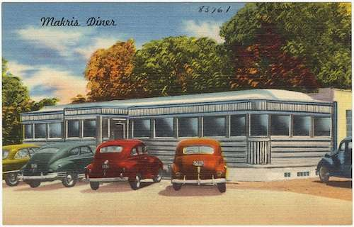 Makris Diner. Photo courtesy Boston Public Library postcard collection.