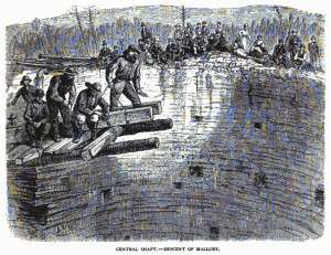 Scribner's sketch showing the attempted rescue of trapped workers.