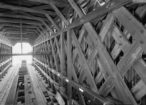 Interior of the Contoocook Railroad Bridge showing the Town lattice truss. Photo courtesy Library of Congress.