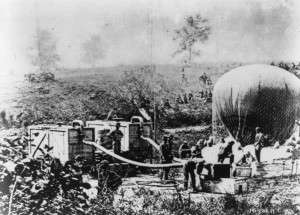 Inflating a balloon for use in the Civil War. (Library of Congress)