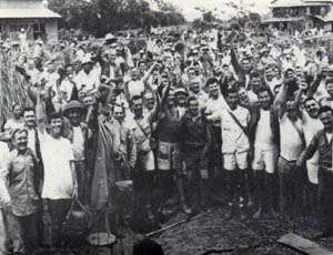 Cabanatuan POWs celebrate their liberation by the U.S. Army Signal Corps.