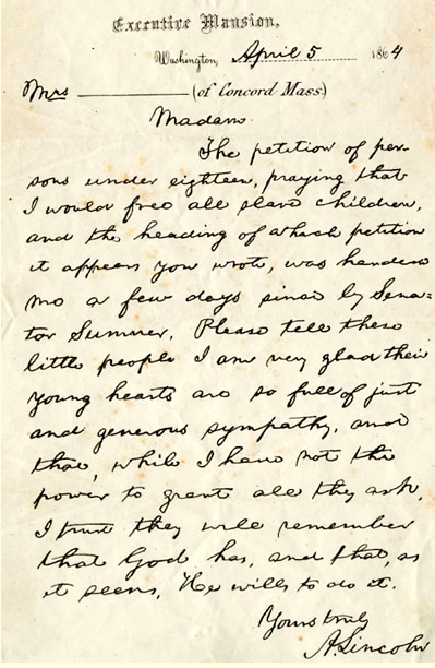 Lincoln's Reply to the Little People's Petition