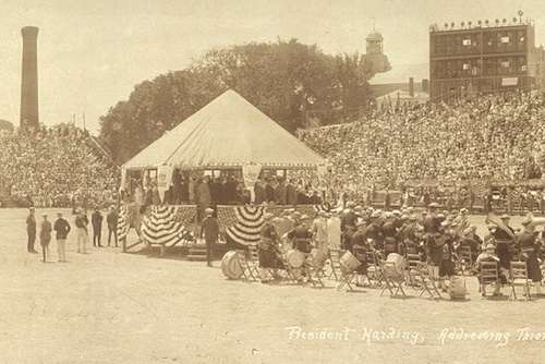President Harding speaking to the crowd at the Pilgrim's Progress Pageant